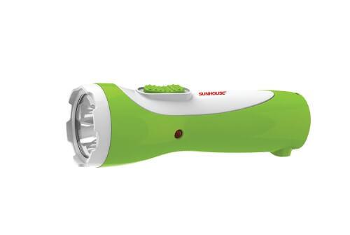 Đèn pin tay cầm SUNHOUSE SHE-4051 cỡ nhỏ, trắng xanh lá 002