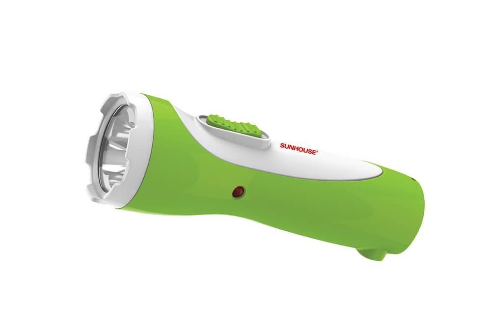 Đèn pin tay cầm SUNHOUSE SHE-4051 cỡ nhỏ, trắng xanh lá 003