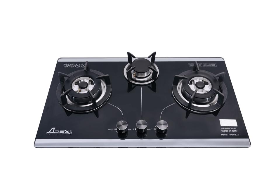 Bếp gas SUNHOUSE âm kính SOMIPress cao cấp Apex 3 lò APB8802 001