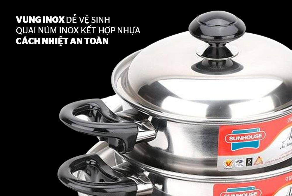 Bộ nồi inox 1 đáy SUNHOUSE SH113 02