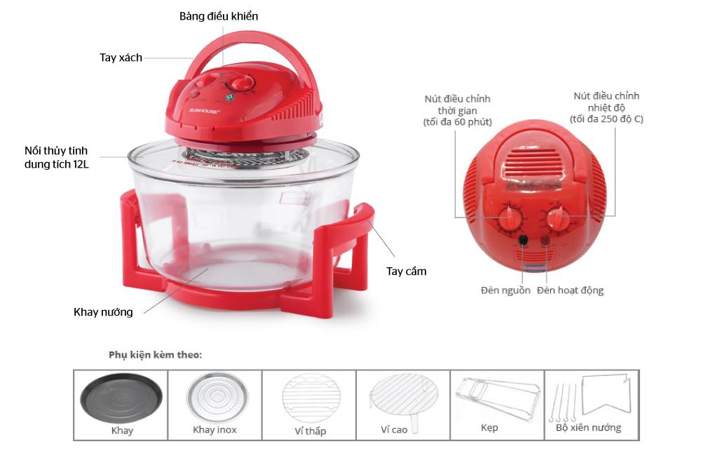 Lò nướng thủy tinh SUNHOUSE SH410 đỏ 2