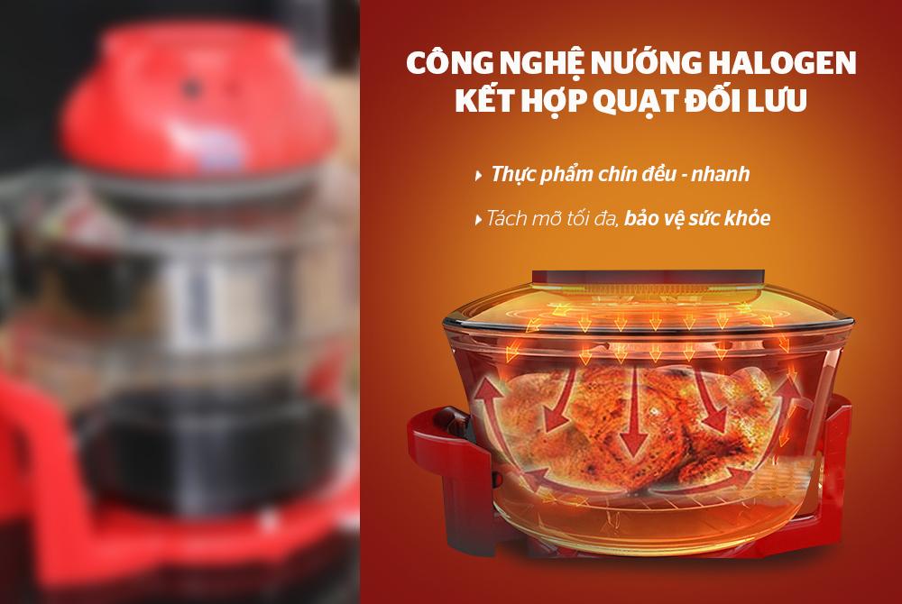 Lò nướng thủy tinh SUNHOUSE SH410 đỏ 5