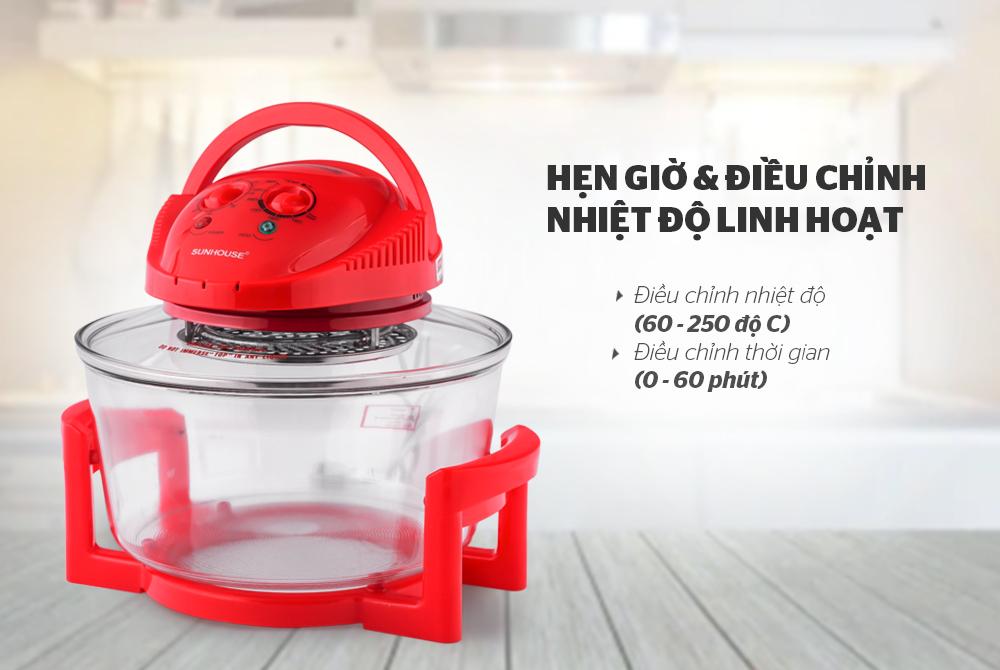 Lò nướng thủy tinh SUNHOUSE SH410 đỏ 7