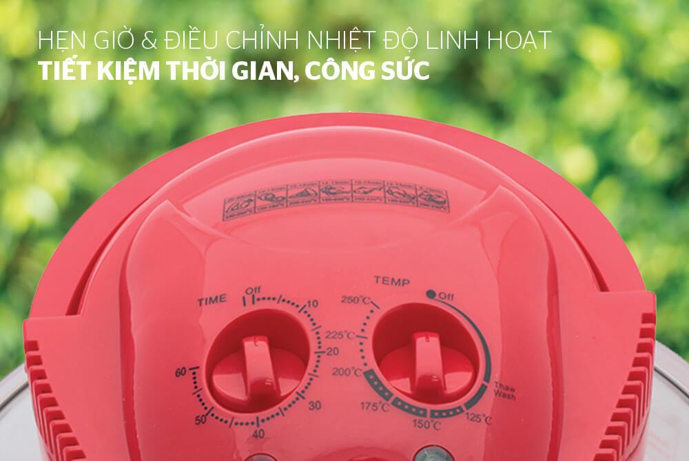 Lò nướng thủy tinh 12 lít SUNHOUSE SH416 đỏ 0011