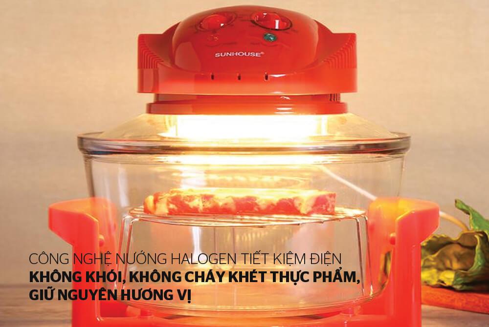 Lò nướng thủy tinh 12 lít SUNHOUSE SH416 đỏ 009