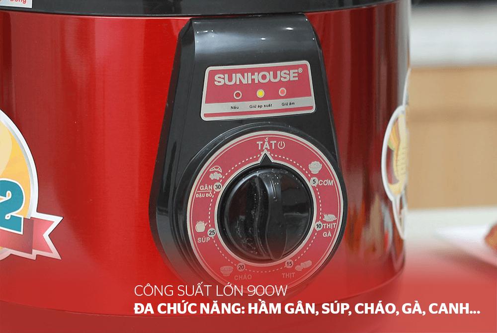 Nồi áp suất điện đa năng SUNHOUSE SHD1552 đỏ 05