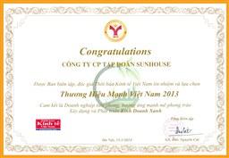Tập đoàn SUNHOUSE đón nhận giải thưởng Thương hiệu mạnh Việt Nam 2013